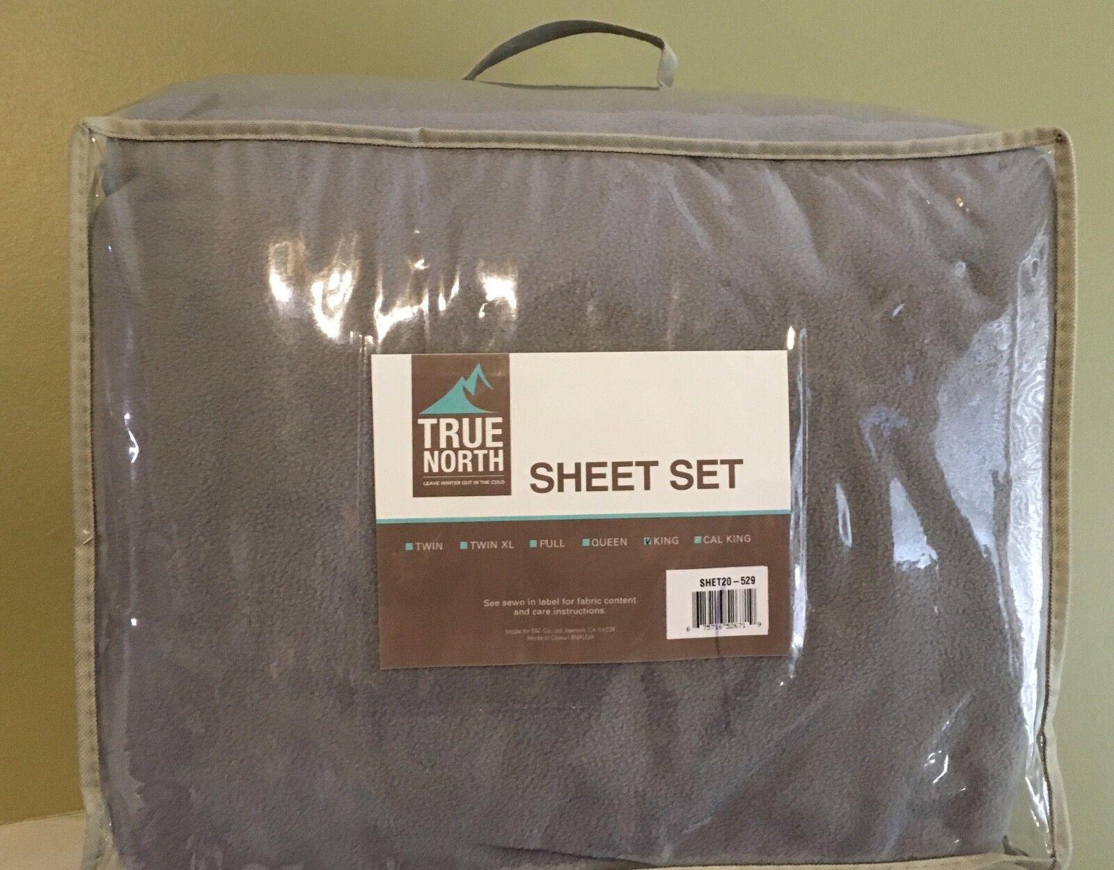 True North Super Soft Fleece Sheet Set  Grey  King  New