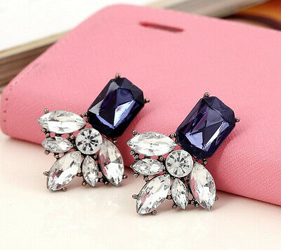 Hot Fashion Lady Elegant Geometry Crystal Leaf Flower Statement Stud Earring