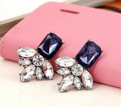 Hot Fashion Lady Elegant Geometry Crystal Leaf Flower Statement Stud Earring