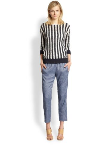 THEORY Tierra Cropped Linen Chambray Pants Size XS