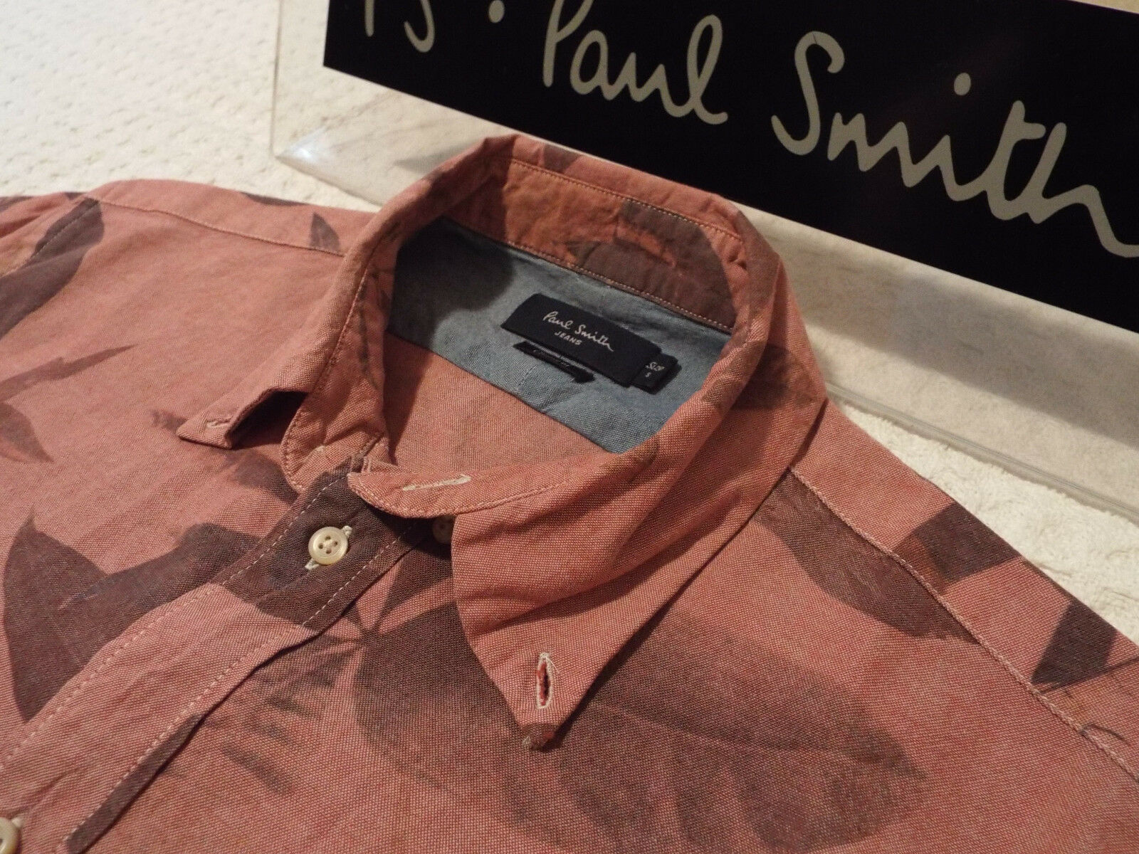 PAUL SMITH Mens Shirt  Size S (CHEST 42 )  RRP +  FLORAL LEAF STYLE