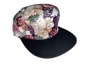 NEW BLUE FLOWER PRINT SNAPBACK BACK CAP ADJUSTABLE ADULT SZ FLORAL PARTY