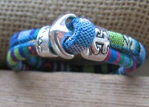 Ethno-Armband-blau-bunt-Herren-Damen-beige-Unisex-Bracelet-Anker-Pulsera-Mexiko