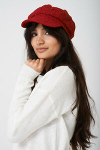 S66 - Ladies Glitter Insert Tweed Baker Boy Hat - Flat Top Cap  4cb8cf83eaf
