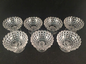Lot-of-7-Hob-Knob-Bubble-Glass-Scalloped-Footed-Bowls-2-1-2-034-Tall-3-3-4-034-Dia