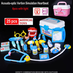 Details about 25Pc Doctor Medical Light Set Toy Nurse Carry Box Kid Role  Play Pretend Kit Case