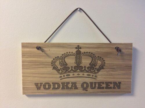Vodka QUEEN EN BOIS PLAQUE PORTE CHAMBRE Signe Avec Cuir Cintre alcool Man Cave