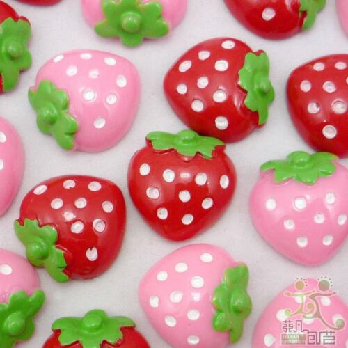 10//100pcs Resin Flatback button lot pink//red strawberry Craft bow embellishment