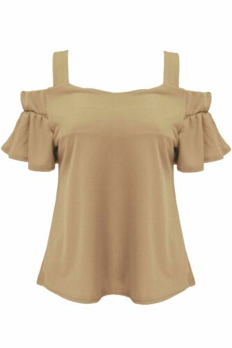 Ladies Womens Plain Wide Strappy Cold Cut Off Shoulder Peplum Sleeve Swing Top
