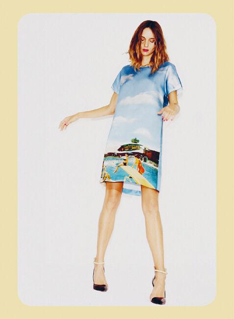 NWT Au Jour Le Jour Abito Pool Print Silk Seta Mini Dress,Made in ,US SZ 6
