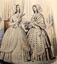 LE FOLLET 1845 Hand-Colored Fashion Plate #1269 White Dresses w/Lace & Ribbon