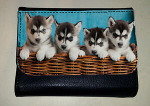 Siberian Husky Puppy Dog Money Purse Wallet Pet Animal Lover Photo