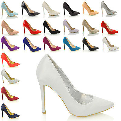 Ladies Pointed Heels Prom Party Bridal Courts Womens Stiletto Shoes Size 3-8
