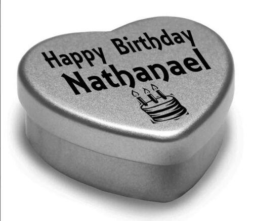 Happy Birthday Nathanael Mini Heart Tin Gift Present For Nathanael Chocolates Home, Furniture & DIY