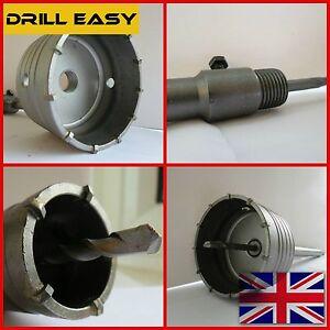 30-120mm Carbure De Mur Hammer Drill Bit Trou Coupeur Scie + Sds Max Arbre Tige M22-afficher Le Titre D'origine Dernier Style