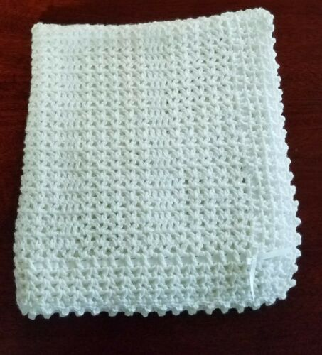 NEW White Cuddly Soft Beautiful Crochet Christening Baby Afghan Blanket