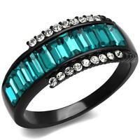 Black Stainless Steel Aquamarine Zircon Cz Blue Baguette Cut Women's Band Ring