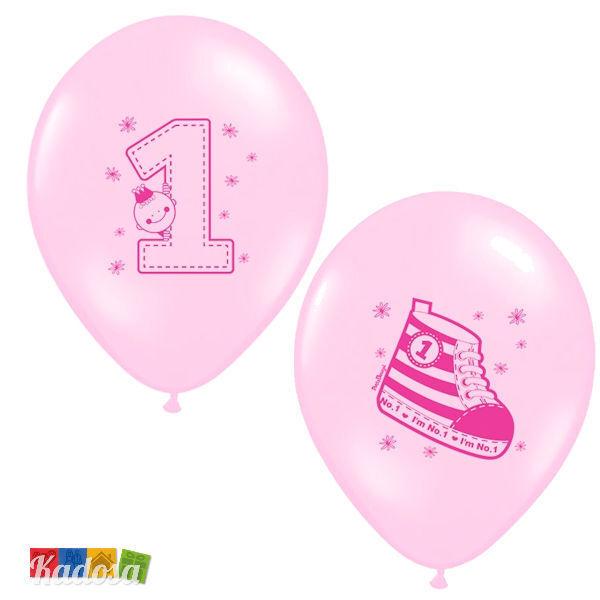 6pz Palloncini 1 Anno Rosa Bimba - Primo Compleanno Festa Decorazioni Party