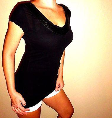 LOL Vintage wash sexy womens cotton sequin rhinestone black tee shirt top Small