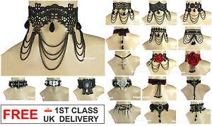 BLACK-GOTHIC-LACE-CHOKER-Victorian-Vintage-Collar-Lolita-Cross-Chain-Necklace