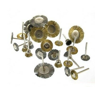 New 24pc Mini Wire Brush Brushes Brass Cup Wheel For Rotary Tool Or Drill 635309678690 Ebay