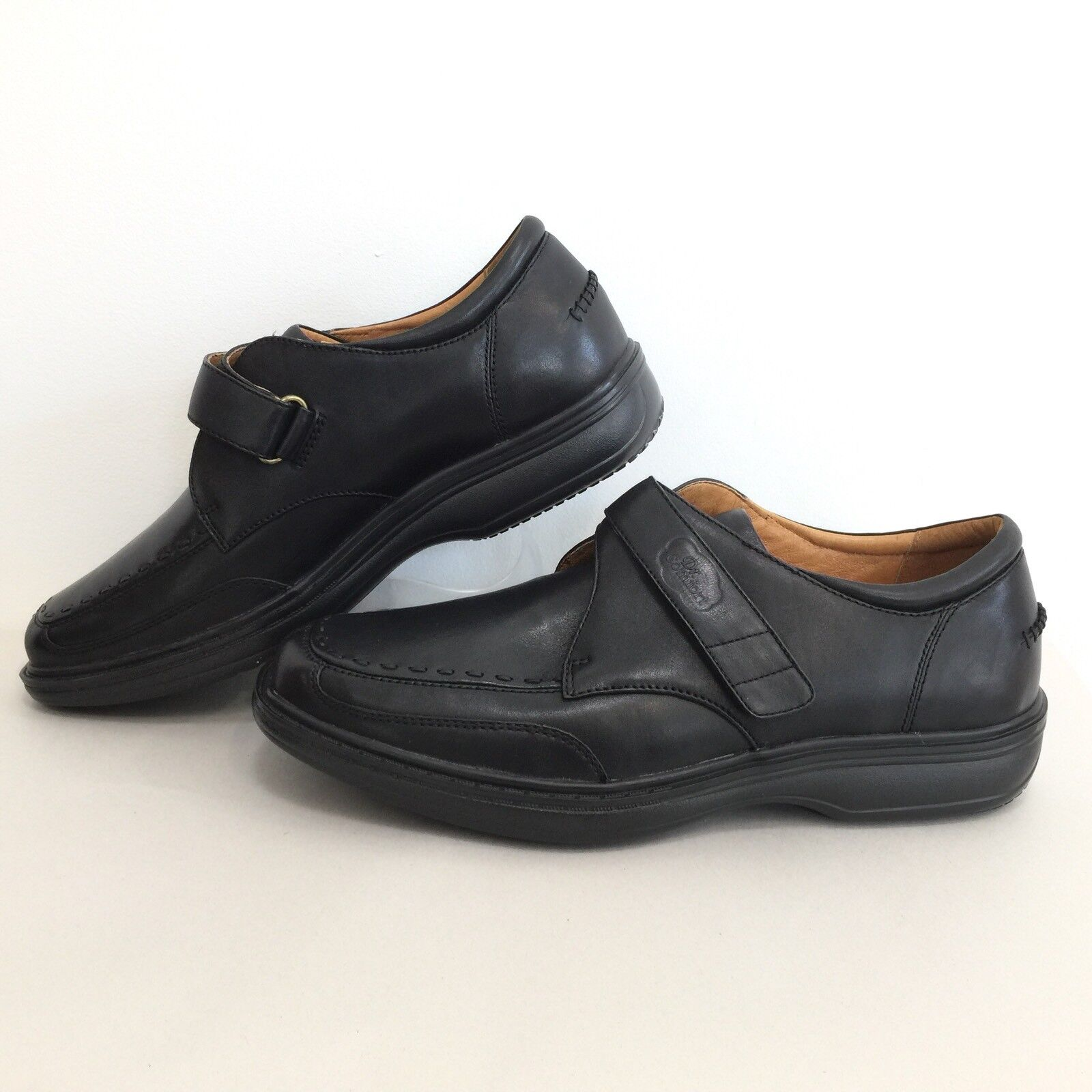 Dr Comfort Mens Sz 10.5 W Black Leather Frank Comfort shoes Leather Lined EUR 44W