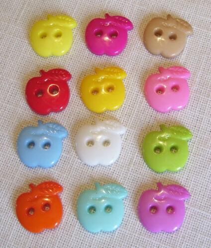 coloris au choix COUTURE SCRAP LOT 6 ou 12 BOUTONS POMME FRUIT 16 mm B19