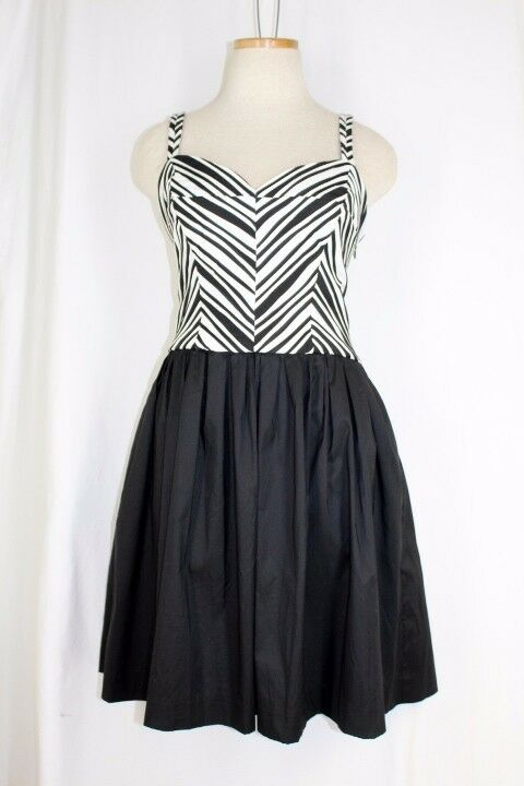BETSEY JOHNSON Sun Dress Größe 12 schwarz Weiß Stripe Fit Flare Skirt Pockets