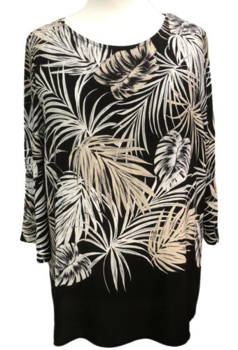 Plus size Tunic Top by SOFO 3//4 sleeves Border Print New Curves size 16 to 32