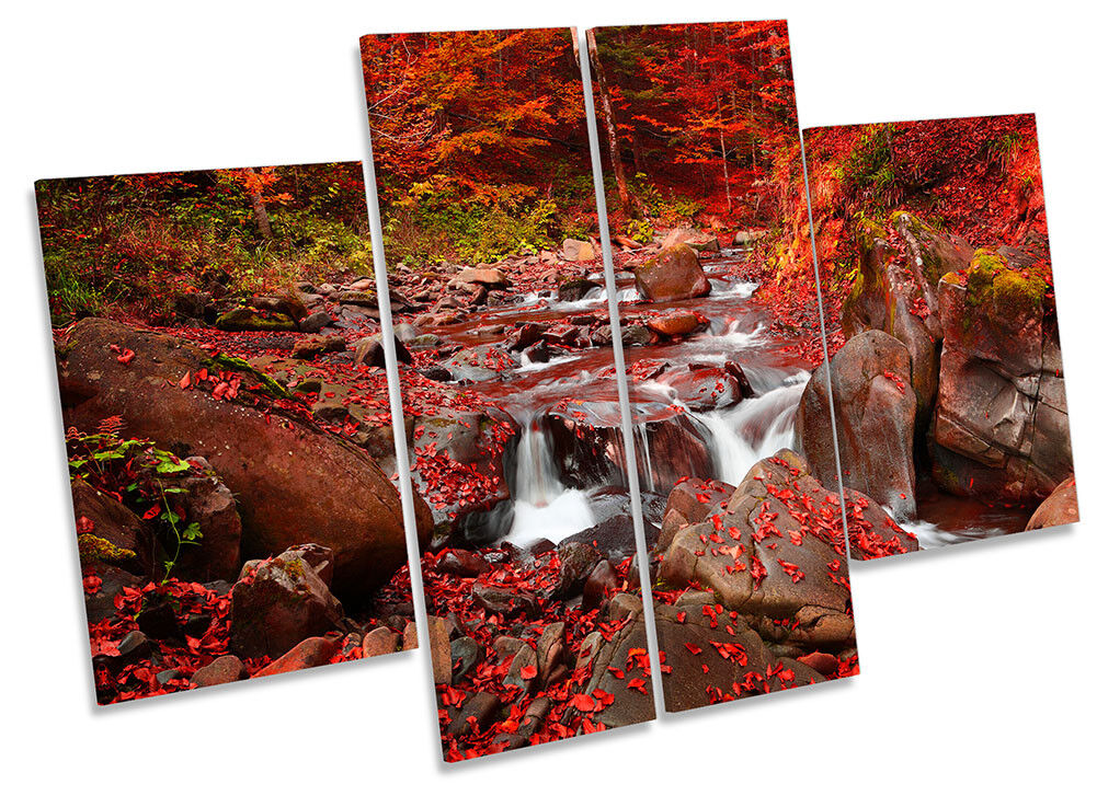 rot Countryside River Forest Bild CANVAS Wand Kunst Four Panel