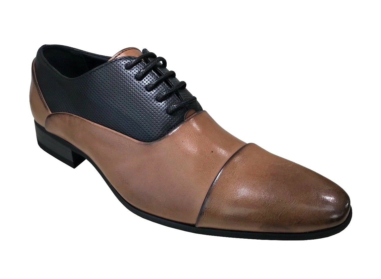 Taino BELLAMY Men's Oxfords Cap Toe Brown Black Dress shoes
