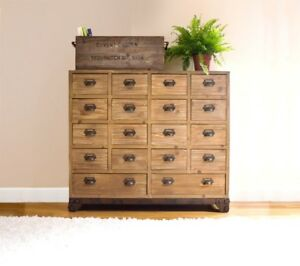 Image Is Loading 18 Drawer Wood Storage Cabinet Vintage Style Apothecary