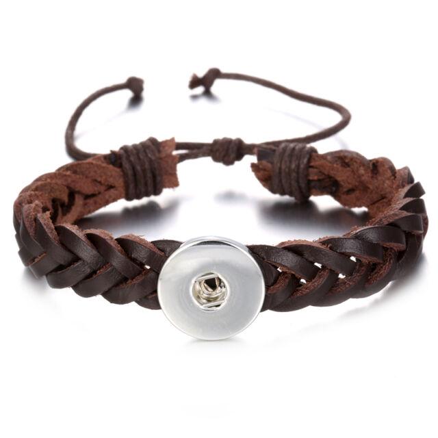 Diy 1pcs Charm Handmade Leather Bracelet For Noosa Snaps Chunk Button A110
