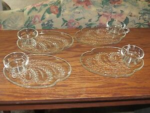 Vintage Homestead Glass Snack Trays & Cups, 8 Piece Set of 4 Federal ...