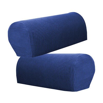 Dark Blue Armrest Covers Set of 2 Chair Sofa Arm Protectors Stretch to Fit