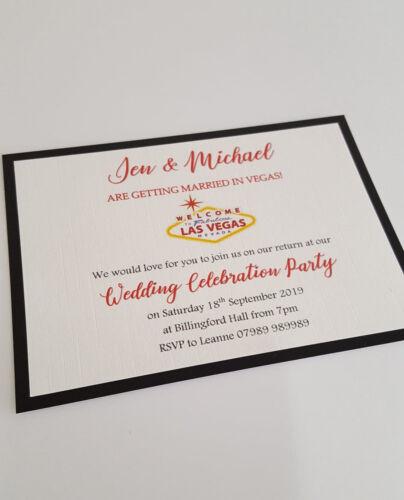 NEW 2019 Personalised Married in Las Vegas Wedding Invitations postcard style