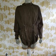 Free People SZ S  Anorak Poncho Faded Olive Green Hooded Zip Front Canvas Jacket