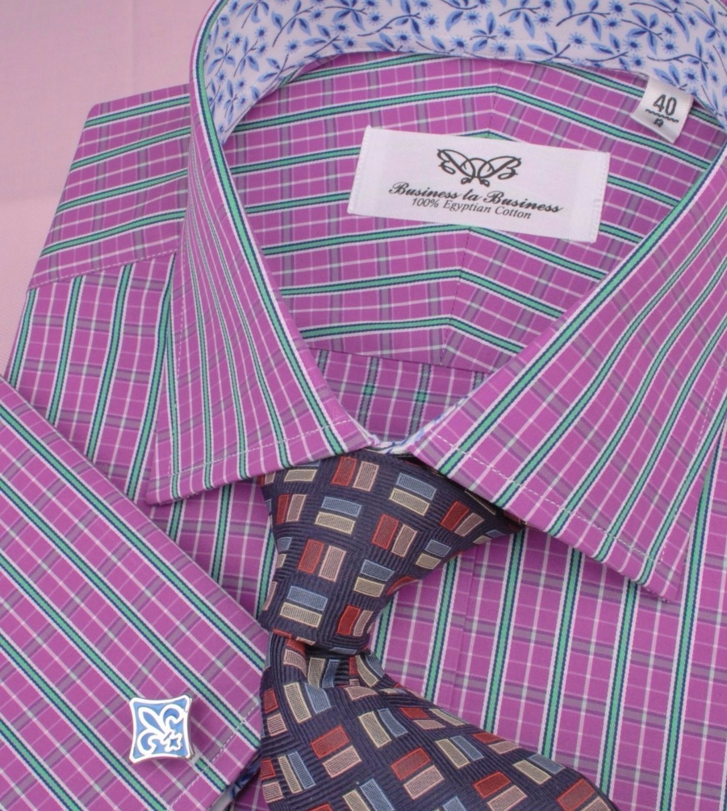ROT Striped Floral Formal Geschäft Dress Shirt Weiß Contrast Collar French Cuff