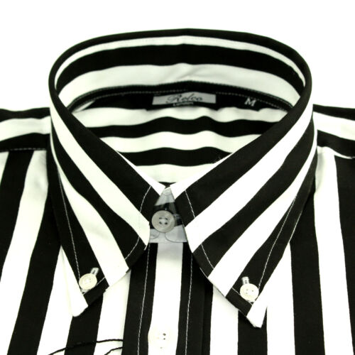 Long Mod Skin White Shirt Mens Sleeved 60s Indie Retro Striped Black Relco qRy8Iw0TR