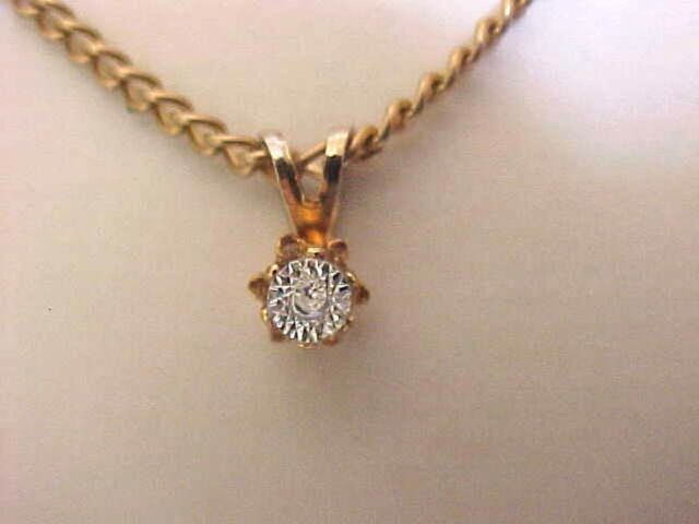 Crystal Solitaire Necklace Pendant Necklace Gold Cable Chain 16""