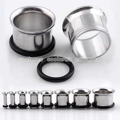 2pc 2mm-14mm Steel Hollow Flared O-Ring Ear Plugs Tunnel Piercing Punk Jewelry