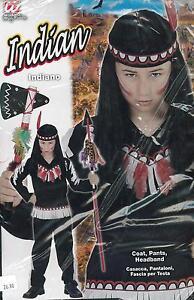 ABITO-Costume-di-CARNEVALE-INDIANO-INDIAN-8-10-ANNI-140cm-PELLEROSSA