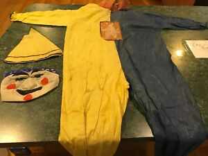 Vintage-Antique-Yellow-amp-Blue-Halloween-Creepy-Clown-Costume-w-Hat-amp-Mask-RARE