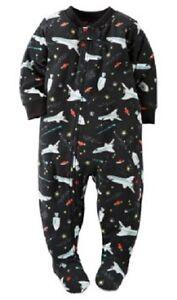 8878e3cbc518 Carter s Black Outer Space Rockets Fleece Sleeper Pajamas Toddler ...