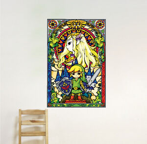 Image is loading Zelda-Stained-Glass-Window-Wall-Decal-Link-Nintendo- & Zelda Stained Glass Window Wall Decal Link Nintendo Mural Sticker ...
