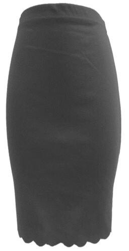 New Womens Scallop Laser Cut Bodycon Midi Pencil Skirts 8-22