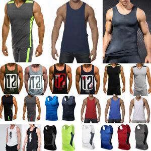 Men-Sleeveless-Shirt-Tank-Tops-Fitness-Vest-Training-Sports-Compression-T-Shirt