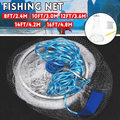 """Sinker 2.4-4.8M Fishing Net Bait Easy Throw Hand Cast 3//4/"""" Strong Nylon Mesh"""