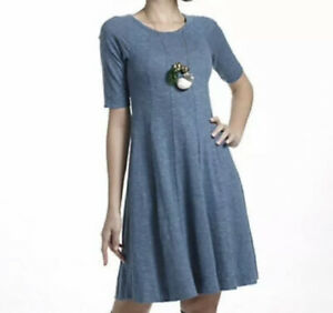 Medium-GANNI-Anthropologie-Blue-Threaded-Trails-Slub-Cotton-Swing-Dress