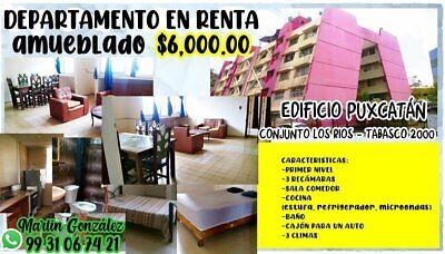 RENTO DEPARTAMENTO AMUEBLADO EN EL CONJUNTO LOS RÍOS,  TABASCO 2000, PRIMER NIVEL, 3 RECÁMARAS.
